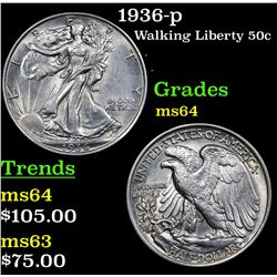 1936-p Walking Liberty Half Dollar 50c Grades Choice Unc
