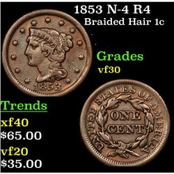 1853 N-4 R4 Braided Hair Large Cent 1c Grades vf++