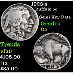 1923-s Buffalo Nickel 5c Grades f+
