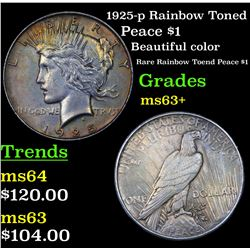 1925-p Rainbow Toned Peace Dollar $1 Grades Select+ Unc