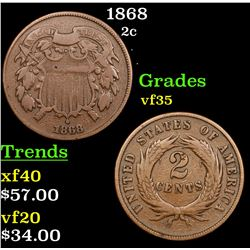1868 Two Cent Piece 2c Grades vf++