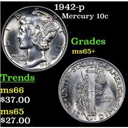 1942-p Mercury Dime 10c Grades GEM+ Unc