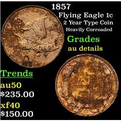 1857 Flying Eagle Cent 1c Grades AU Details