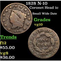 1828 N-10 Coronet Head Large Cent 1c Grades vg+
