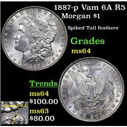 1887-p Vam 6A R5 Morgan Dollar $1 Grades Choice Unc