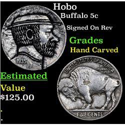 Hobo Buffalo Nickel 5c Grades Hand Carved