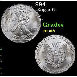 1994 Silver Eagle Dollar $1 Grades GEM+++ Unc