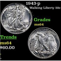 1943-p Walking Liberty Half Dollar 50c Grades Choice Unc