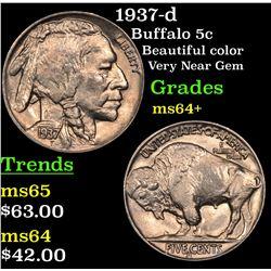 1937-d Buffalo Nickel 5c Grades Choice+ Unc
