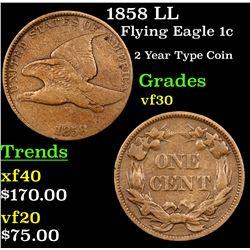1858 LL Flying Eagle Cent 1c Grades vf++