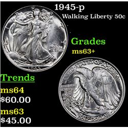 1945-p Walking Liberty Half Dollar 50c Grades Select+ Unc