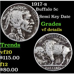 1917-s Buffalo Nickel 5c Grades vf details