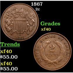 1867 Two Cent Piece 2c Grades xf