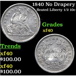 1840 No Drapery Seated Liberty Half Dime 1/2 10c Grades xf