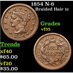 1854 N-6 Braided Hair Large Cent 1c Grades vf++