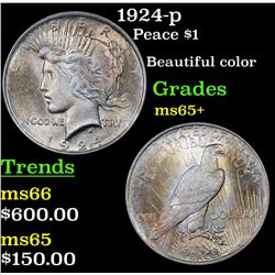 1924-p Peace Dollar $1 Grades GEM+ Unc