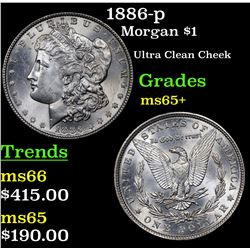 1886-p Morgan Dollar $1 Grades GEM+ Unc
