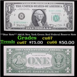**Star Note** 1963A New York Green Seal Federal Reserve Note Grades Gem++ CU