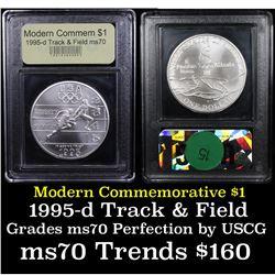1995-d Olympics Track & Field Modern Commem Dollar $1 Graded ms70, Perfection By USCG
