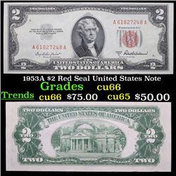1953A $2 Red Seal United States Note Grades Gem+ CU
