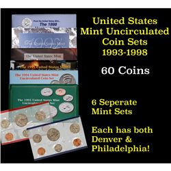 Group of 6 United States Mint Sets in Original Government Packaging 1993-1998 60 coins Grades