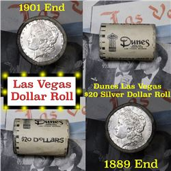 ***Auction Highlight*** Full Morgan/Peace Dunes Hotel silver $1 roll $20, 1889 & 1901 ends (fc)