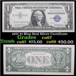 1957 $1 Blue Seal Silver Certificate Grades Gem++ CU