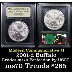2001-d Buffalo Modern Commem Dollar $1 Graded ms70, Perfection By USCG