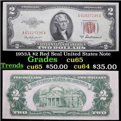 1953A $2 Red Seal United States Note Grades Gem CU