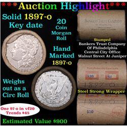 ***Auction Highlight*** Full solid Key date 1897-o Morgan silver dollar roll, 20 coins (fc)