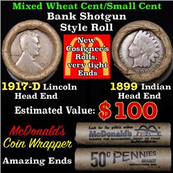 Mixed small cents 1c orig shotgun roll, 1917-d Wheat Cent, 1899 Indian Cent other end, McDonalds Wra