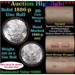 ***Auction Highlight*** 1886-p Uncirculated Morgan Dollar Shotgun Roll (fc)
