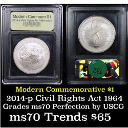 2014-p Civil Rights Act of 1964 Modern Commem Dollar $1 Graded ms70, Perfection By USCG