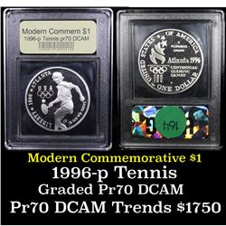 Proof 1996-P Olympics Tennis Modern Commem Dollar $1 Graded GEM++ Proof Deep Cameo By USCG