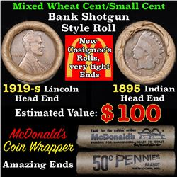 Mixed small cents 1c orig shotgun roll, 1919-s Wheat Cent, 1895 Indian Cent other end,McDnalds Wrapp