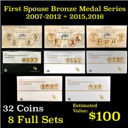 8 First Spouse Bronze Medal Series sets 2007-2012 + 2015 & 2016 32 coins