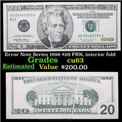 Error Note Series 1996 $20 FRN, interior fold  Grades Select CU