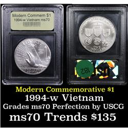 1994-w Vietnam Veterans Modern Commem Dollar $1 Graded ms70, Perfection By USCG