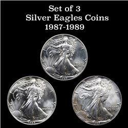 3 Silver Eagle $1 coins 1987-1989 Silver Eagle Dollar $1