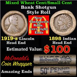 Mixed small cents 1c orig shotgun roll, 1919-sWheat Cent, 1898 Indian Cent other end, McDonalds Wrap