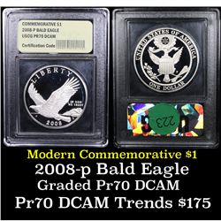 Proof 2008-P Bald Eagle Modern Commem Dollar $1 Graded GEM++ Proof Deep Cameo By USCG