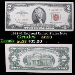 1963 $2 Red seal United States Note Grades Select AU