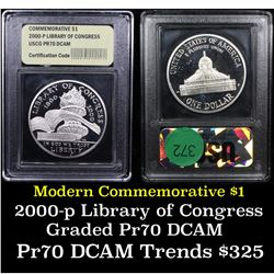 Proof 2000-p Library of Congress Modern Commem Dollar $1 Graded GEM++ Proof Deep Cameo By USCG