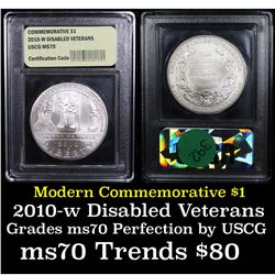2010-w Disabled Veterans Modern Commem Dollar $1 Graded ms70, Perfection By USCG