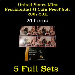 Group of 5 United States Presidential Dollar Proof Sets 2007-2011 20 coins