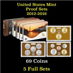 ***Auction Highlight*** Group of 5 United States Proof Sets 2012-2016 69 coins (fc)