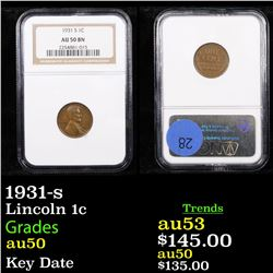 NGC 1931-s Lincoln Cent 1c Graded au50 By NGC