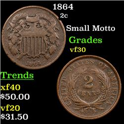 1864 Two Cent Piece 2c Grades vf++