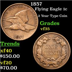 1857 Flying Eagle Cent 1c Grades vf++