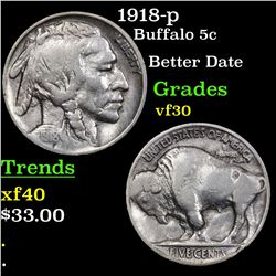1918-p Buffalo Nickel 5c Grades vf++